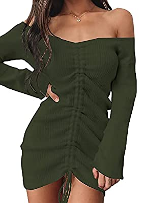 FEATURES - Long Sleeve Sweater Dresses For Women / Long Sweaters For Women / Stretchy Sweater Knit Material / Elegant Off The Shoulder Sweaters For Women / Unique Wide Neck Design / Charming Slim Fit / Adjustable Drawstring Ruched Centre-Front / Regu...