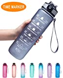 Venture Pal 32oz Leakproof Tritran BPA Free Water Bottle with Motivational Time Marker & Straw to Ensure You Drink Enough Water Throughout The Day for Fitness,Gym and Outdoor Sports-Gray