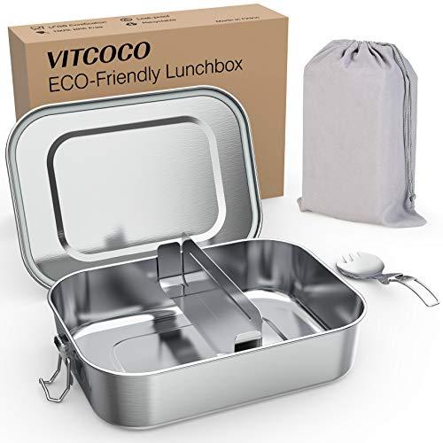 VITCOCO Fiambrera 1200ml Acero Inoxidable Fiambrera Caja de Almuerzo con Recipiente Hermético Divisor y Cierres Adeucado para los Adultos y Niños