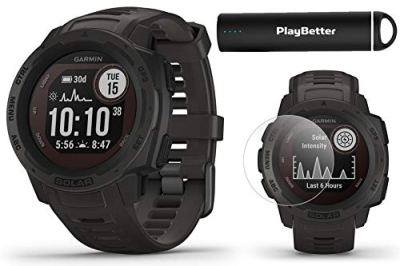 Garmin Instinct Solar (Graphite) Power Bundle   +PlayBetter 2200mAh Portable Charger & HD Screen Protectors   Rugged, Heart Rate   Solar Charging   Ultimate Outdoor GPS Watch