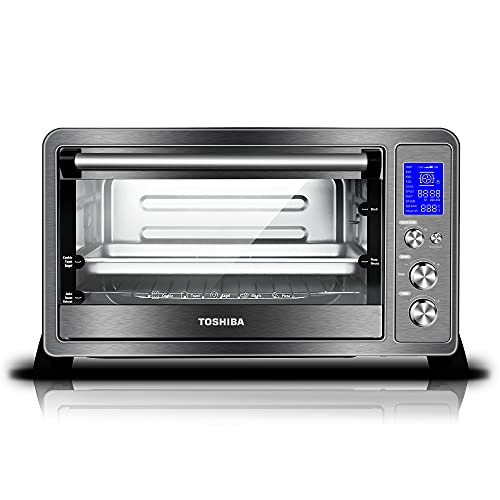 Toshiba AC25CEW-BS Toaster Oven, 6-Slice Bread/12-Inch Pizza, Black Stainless Steel, 1500W