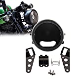 Black 5.75inch Motorcycle LED Headlight Housing Bucket Mount for Harley Honda Suzuki Kawasaki Vulcan Cruiser Bike Cafe racers