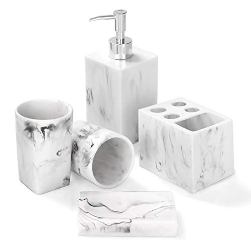 Bathroom Accessories Set, 5 Piece Marble Complete Bathroom Set for Bath Decor, Includes Toothbrush Holder, Soap...