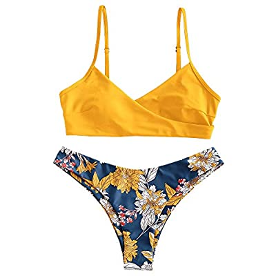 Material: Nylon,Spandex Our Size: S--US 4, M--US 6, L--US 8 Adjustable Spaghetti Straps, Padded Bra, Pull On Closure This bikini set features a pull on top with scoop neck and bralette shape, low-rise bottoms with moderate coverage offers a modest ye...