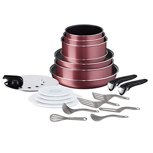 Tefal L22890AZ, Ingenio Essential - Batteria di pentole da 20 pezzi, colore: Rosso retato, per tutti i tipi di fornelli esclusa induzione