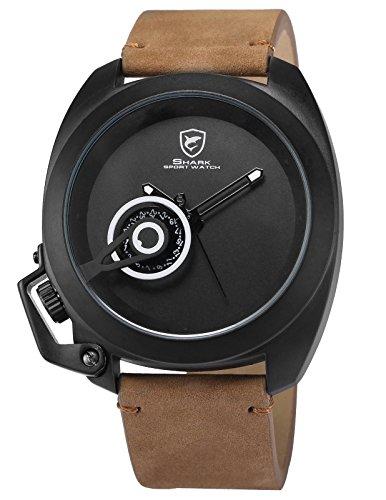 Tawny Shark Sport Quarz Uhren Armbanduhr Herren Echtes Leder LED Anzeige Datumsanzeige SH451