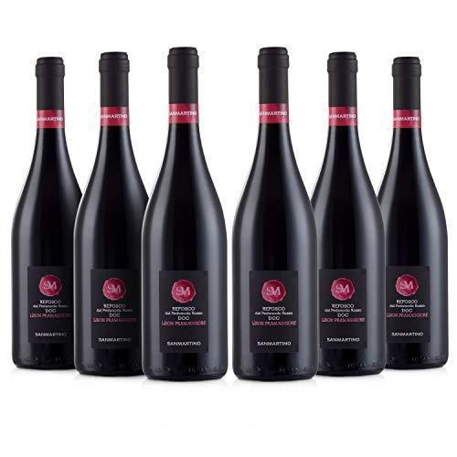 SAN MARTINO VINI Refosco dal Peduncolo Rosso DOC Lison Pramaggiore, 6 Bottiglie di Vino Rosso x 750 ml, Gusto Fruttato, Adatto a Piatti a Base di Selvaggina e Carni Rosse, 12,5% Vol