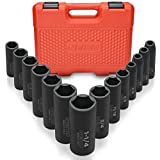 Neiko 02476A 1/2' Drive Deep Impact Socket Set, 14 Piece   6 Point Standard SAE Sizes (3/8-Inch to 1-1/14')   Cr-V Steel