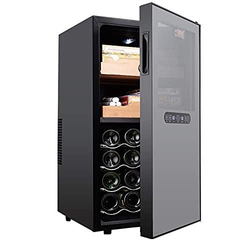 N\C Armadietto per sigari in Acciaio Inossidabile di Controllo, cantinetta e Frigorifero per Vino incorporati, Controllo Touch, Display Digitale per Temperatura/umidit, Nero LKWK