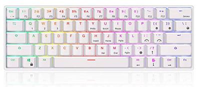 RK ROYAL KLUDGE RK61 60% RGB Mechanical Gaming Keyboard Small Compact 61 Keys Wired/Wireless Bluetooth Mini Portable Office for iOS Android Windows and Mac Gateron Red Switch 1450mAh Battery White