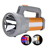 High Power Handheld LED Spotlight Flashlight Super Bright Search Light USB Rechargeable Big Battery Powered 10000mah High Lumens CREE Heavy Duty Handy Torch,Portable Camping Lantern