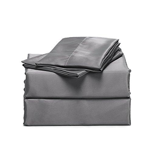 Bedsure 4-Pieces Satin Bed Sheet Set...