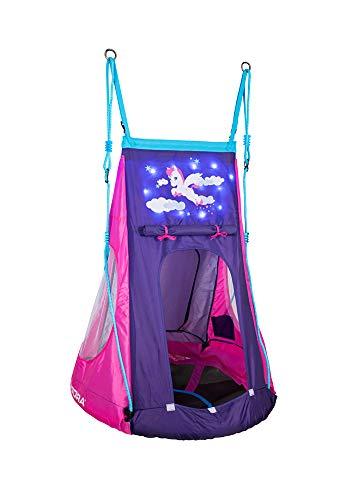 HUDORA 72151 Nestschaukel Cosmos 90 Nestchaukel mit Zelt und LED Beleuchtung, blau/schwarz