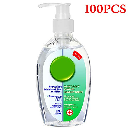 (100PACK) Hand Sanitizer Gel 200ml Hand Soap Travel Size 24 Hour Non-Washing Disposable Antibacterial Hand Sanitizer Moisturizing Refreshing Gel Sanitizing Gel Kills 99% of Germs
