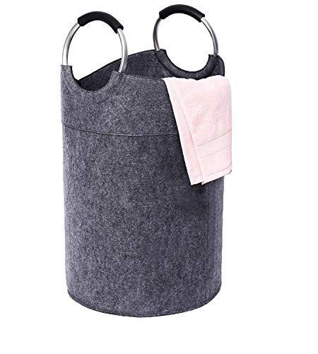 Mangata Wäschekorb kinderzimmer Filz Wäschesammler faltbar groß Korb(Dunkelgrau)
