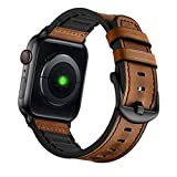 Mifa [Upgraded] Compatible with Apple Watch Band 44mm 42mm Series 5 4 3 Rugged Hybrid Sports Leather Vintage Dressy Bands Dark Replacement Straps Sweatproof iwatch Nike Space Black Grey Men Brown