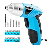 Hi-Spec 27 Piece Blue 4.8V Electric Cordless Power Screwdriver Set. Rechargeable Battery Screwdriving with 23 Popular Driver Bit Sizes for The Home & Office