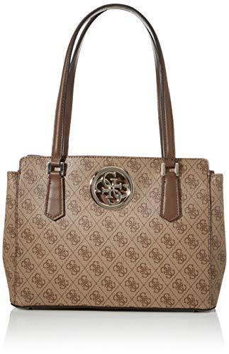 Guess Open Road Luxury Satchel, Bolso para Mujer, Carbone, Talla única