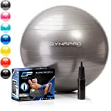 DYNAPRO Exercise Ball – Extra Thick Eco-Friendly & Anti-Burst Material Supports Over 2200lbs – Stability Ball for Home, Gym, Chair, Birthing Ball (Silver, 65 Centimeters)