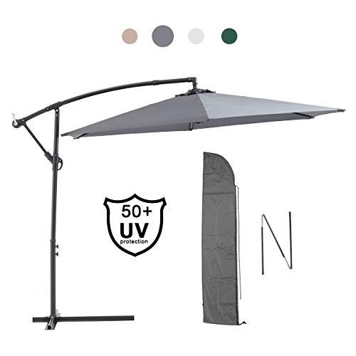 Laxllent Ampelschirm Alu Sonnenschirm 300Dx250HCM mit Kurbel,UV Schutz UPF50+ Wasserdicht Rostfest,im Gaten Balkon Strand,Anthrazit