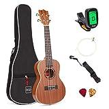Best Choice Products 23in Acoustic Concert Sapele Ukulele Starter Kit w/Gig Bag, Strap, Picks, Electric Tuner