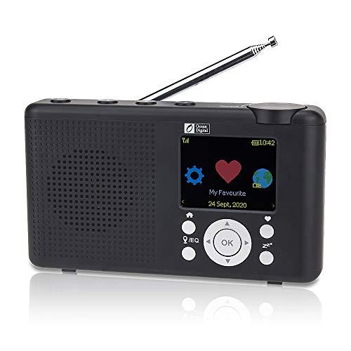"Ocean Digital WR-23D Radio Internet Portable 2,4 ""Couleur LCD Rechargeable Batterie Wi-FI Bluetooth UPnP & DLNA Player Sleep Timer (Noir)"