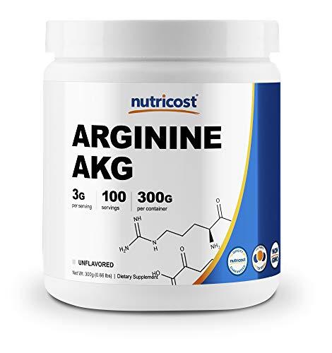 Nutricost Arginine AKG Powder 300 Grams (AAKG) - 3G Per Serving & 100 Servings - Pure Arginine Alpha Ketoglutarate