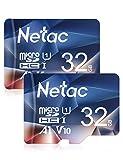 Netac Carte mémoire microSDHC, Lot de 2 32G Haute Vitesse UHS-I Carte Micro SD...