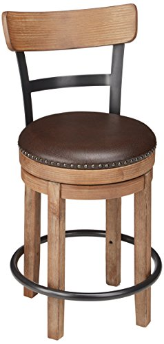 Signature Design by Ashley Pinnadel Farmhouse Swivel Counter Height Single Stool, Brown