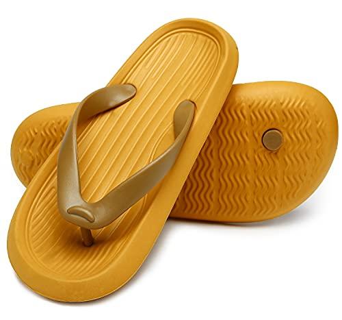 ChayChax Chanclas Hombre Mujer Verano Sandalias de Playa y Piscina Ligero Zapatillas de Ducha Antideslizante(Amarillo,41-42 EU=Etikettengröße 42-43