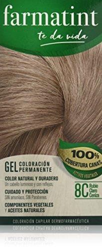 Farmatint Gel 8C Rubio Claro Ceniza   Color natural y duradero   Componentes vegetales y aceites naturales   Sin amoníaco   Sin parabenos   Dermatológicamente testado