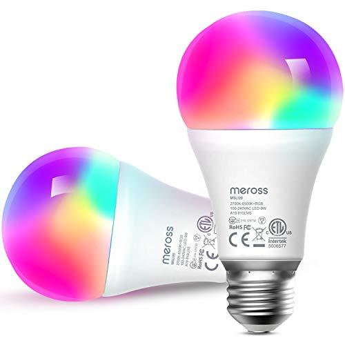 Bombilla LED Wifi Inteligente Multicolor - Luces Cálidas/Frías RGB, Lámpara Regulable, 9W E27, 2700-6500K, Compatible con Alexa,Google Home y SmartThings, Paquete de 2, meross