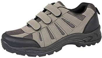 Mens Ladies Hiking Trail Walking Trekking Style Triple Touch Close Strap Trainers Shoes Size 3-12 (8 UK, Grey)