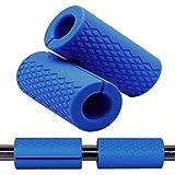 Greententljs Dumbbell Bar Handle Grips - Standard Bar Grips for Weight Lifting Fitness Strength Training - Arm Chest Workout Machines Grip (Blue, 1' Bar, Fat)