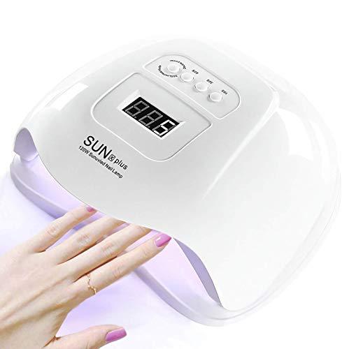 YIVIYAR 120W UV LED Nail Lamp, 10s/30s/60s/99s Gel Nail Dryer Suit for UV Gel/Builder/LED Gel Polish, Professional Powerful Fingernail and Toenail LED UV Light, Nail Art Tool Accessory(Xps White)