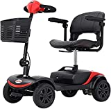 4 Wheel Mobility Scooter (FBA), Electric Wheelchair Device, Compact Heavy Duty Mobile with Basket for Gravida, Foldable in Boot Trunk for Traveling with Seniors (Red)