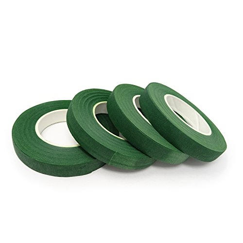 """Honbay 4 Rolls 1/2"""" Wide 30Yard/Roll Floral Tapes for Bouquet Stem Wrap Florist Craft Projects (Dark Green)"""