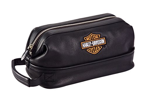 Harley Davidson Leather Toiletry Kit, Black, One Size