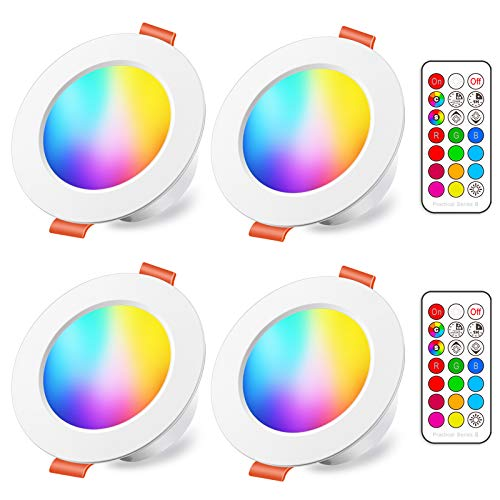 Faretti LED da Incasso 8W (equivalenti a 60W), Colorate RGBW RGB 2700K Sfera Luce Bianca Calda...