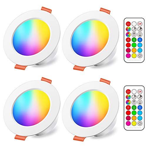 Faretti LED da Incasso 8W (equivalenti a 60W), Colorate RGBW RGB 2700K Sfera Luce Bianca Calda Dimerabile IP44 Cambiare Colore Multicolore con Telecomando Interni per cartongesso (Pacco da 4)