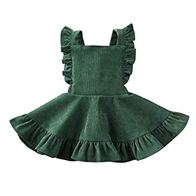 Material - The blue and yellow baby girl dress is made of cotton blend, red, green, brown and wine toddler skirt are made of corduroy. Wash by hand or machine, hang out and do not bleach. High Quality - 100% Brand New, Our toddler blue dress is soft,...