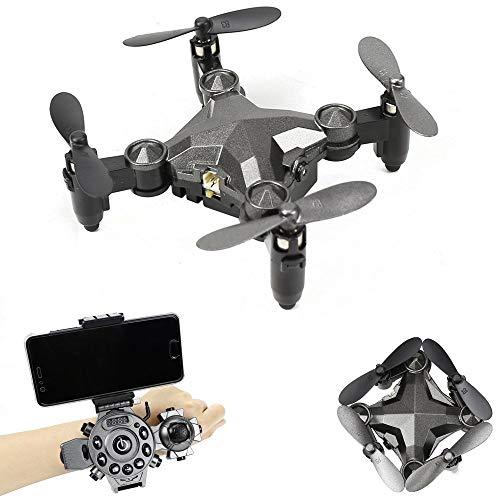 Telecomando drone pieghevole orologio tipo telecomando mini quadcopter WIFI FPV dotato di 0.3 MP regolazione ingranaggio della fotocamera, funzione di correzione automatica di Natale regalo grigio