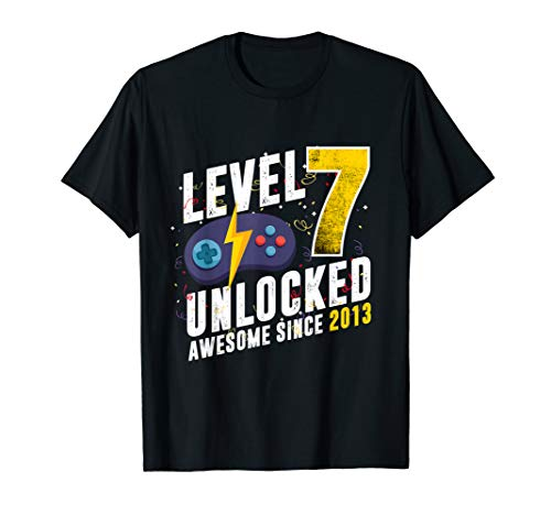 Level 7 Unlocked Awesome Since 2013 Video Game 7th Birthday T-Shirt