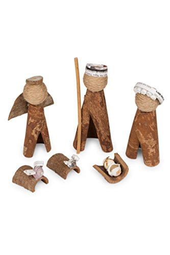 Ten Thousand Villages Brown and White Cinnamon Bark Nativity 'Cinnamon Bark Nativity'