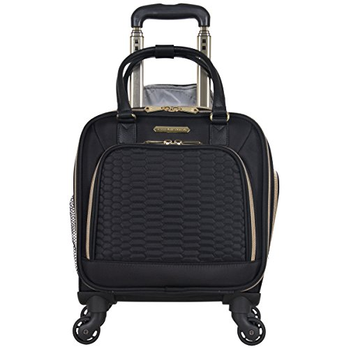 Aimee Kestenberg Womens Florence 16 Polyester Twill 4-Wheel Underseater Carry-on Luggage, Black