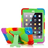 iPad Mini Case, iPad Mini 2 Case, iPad Mini 3 Kids Case Shockproof Drop Resistance Soft Silicone Cover with Adjustable Kickstand (Rainbow Green)