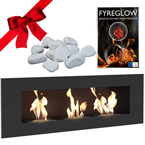 Delta 3 Bio Ethanol Fireplace, Wall Mounted, Indoor, 120cm, Matte Black, TÜV Certified, Gift Pack with Fyreglow and Decorative Stones