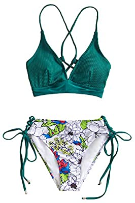 Special fabric on the top: 90% nylon, 10% span V-neck bikini top with lace-up sides, padded bra About Cup Style: With padding cups The pattern is unique, the exact pattern you receive, is slightly different from the one pictured. Body Size: The size ...