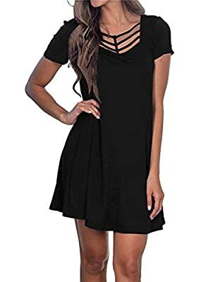Fashion Design: Criss cross neckline,shor/kibgt sleeve,loose fit, a-line flared dress, soft and gorgeous, loose and casual enough to hide your belly perfectly. Suitabl for any occassion: Work/Casual/Party/Wedding/Date/Beach/Holiday/Home/School. It is...