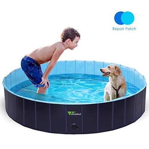 amzdeal Hundepool Schwimmbad - Faltbares Doggy Pool, 100{adb84da8ff3070844984e5b4d0f0ec3b72d1787ba28894c8bc925eaad2ea5ef1} Umweltfreundliche PVC, Rutschfest Schwimmbad für Hunde und Katzen, Hunde Planschbecken für Indoor und Outdoor geeignet, 160 × 30 cm